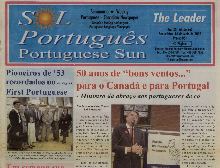 SOL PORTUGUES: 2003/05/16 Issue 963