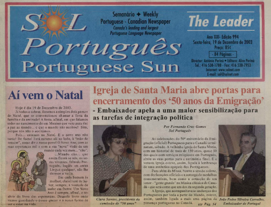 SOL PORTUGUES: 2003/12/19 Issue 994