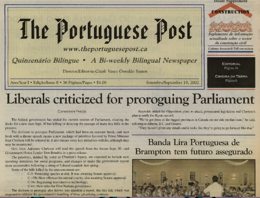 THE PORTUGUESE POST: 2002/09/19 Issue 8