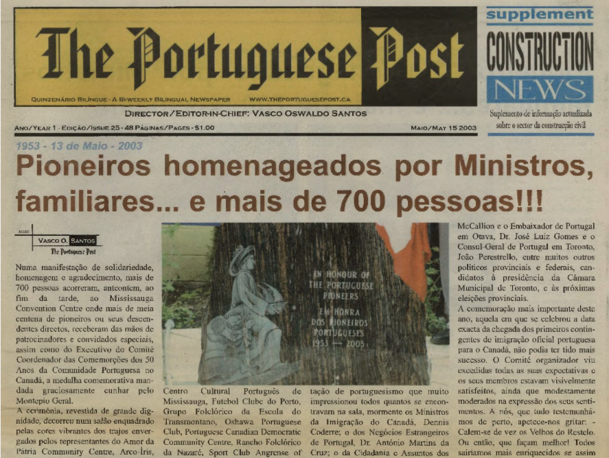 THE PORTUGUESE POST: 2003/05/15 Issue 25