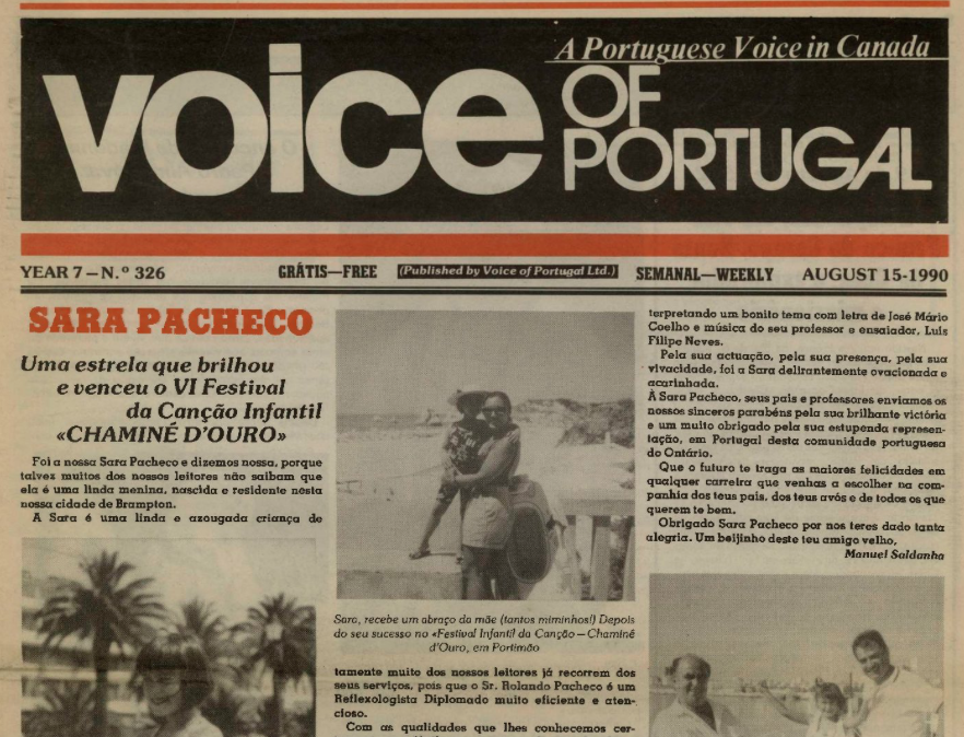 VOICE OF PORTUGAL: 1990/08/15 Issue 326