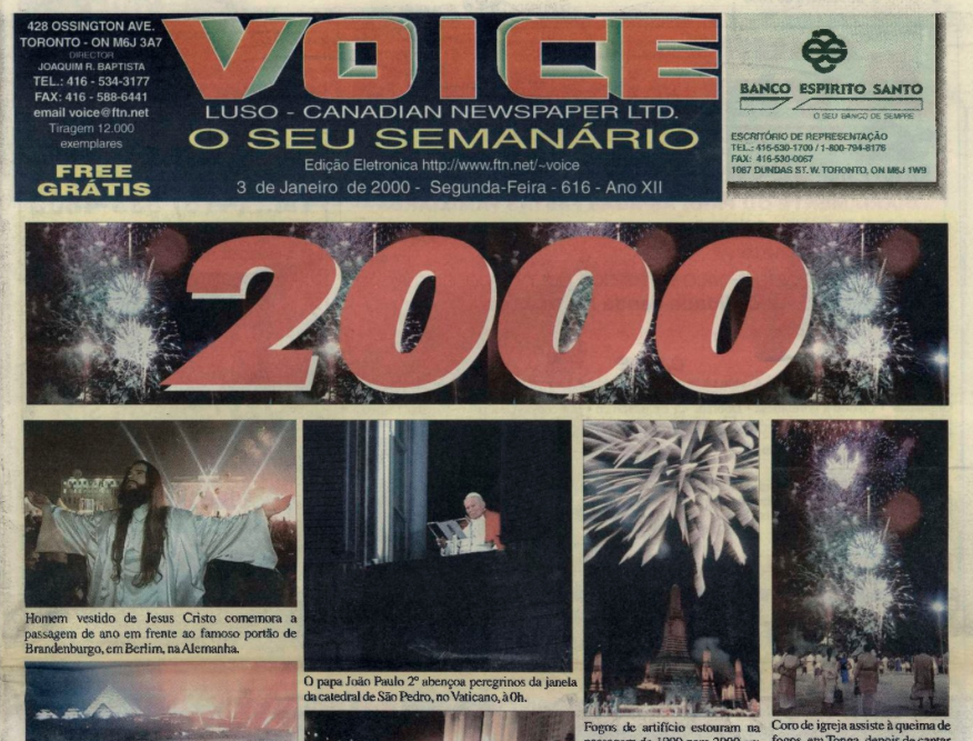 VOICE OF PORTUGAL: 2000/01/03 Issue 616