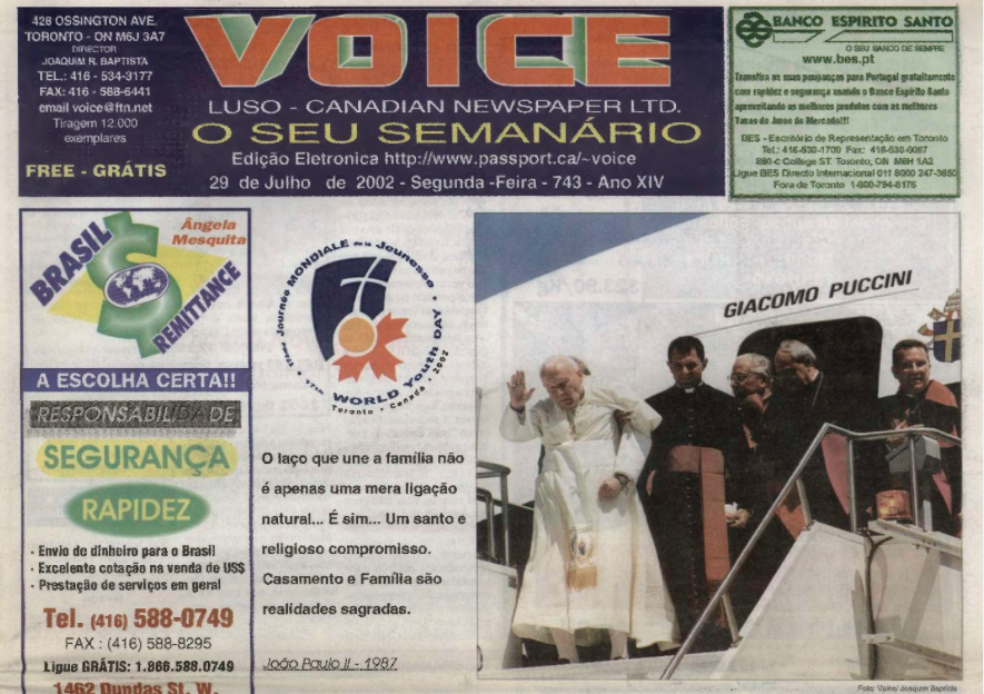 VOICE OF PORTUGAL: 2002/07/29 Issue 743
