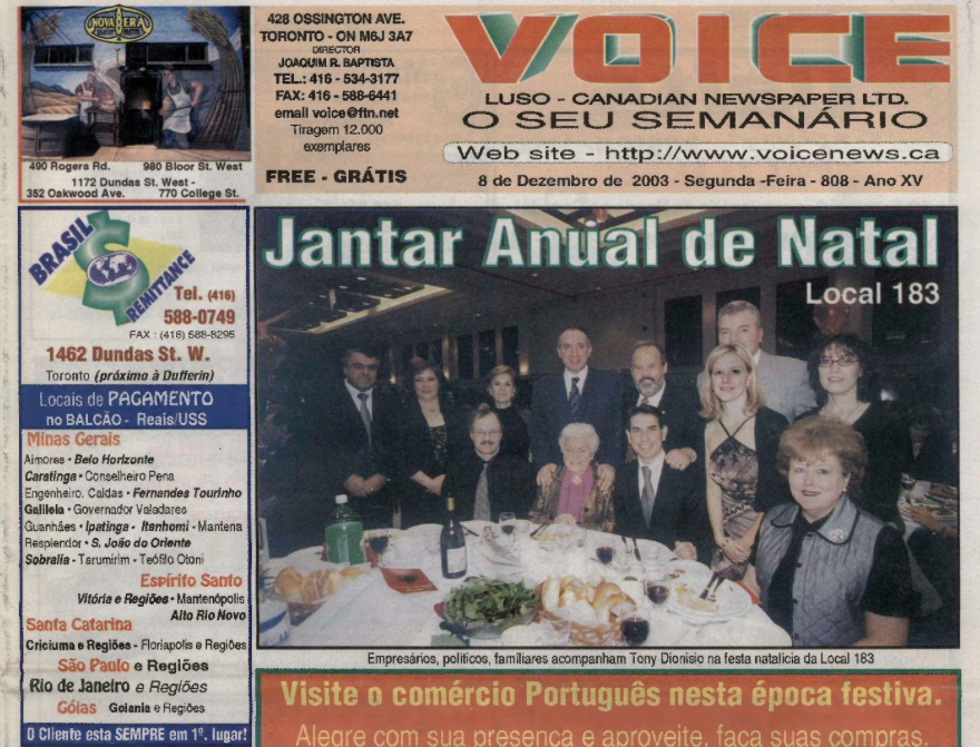 VOICE OF PORTUGAL: 2003/12/08 Issue 808