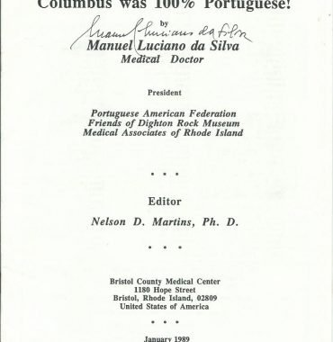 COLUMBUS WAS 100% PORTUGUESE by Manuel Luciano da Silva, January 1989