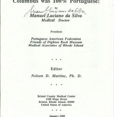 COLUMBUS WAS 100% PORTUGUESE by Manuel Luciano da Silva, January 1989