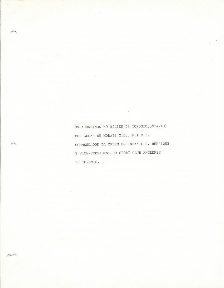 OS ACORIANOS NO MILIEU DE TORONTO by Cesar de Morais