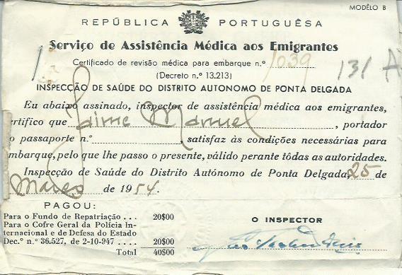 PORTUGAL: Serviços de Assistência Médica aos Emigrantes (Inspecção de Saúde, 1954)