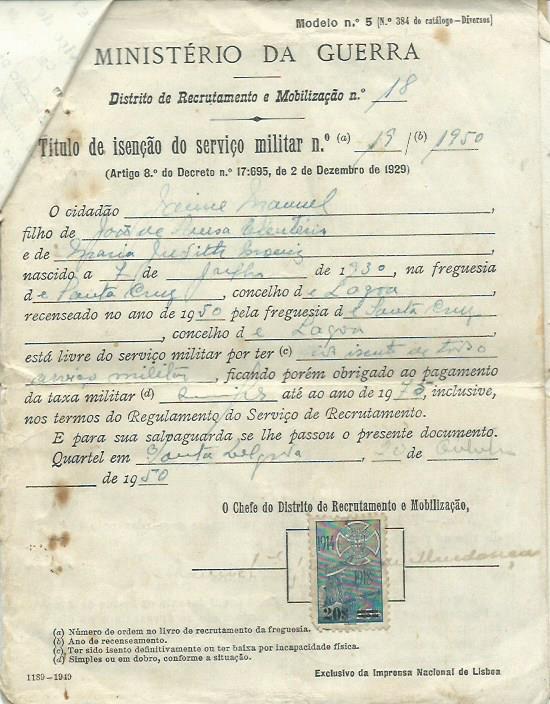 PORTUGAL: Ministério da Guerra (Distrito de Recrutamento e Mobilização)
